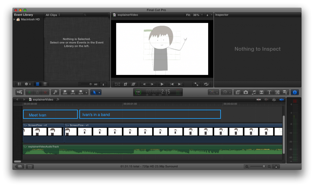 Explainer video screenshot from Final Cut X