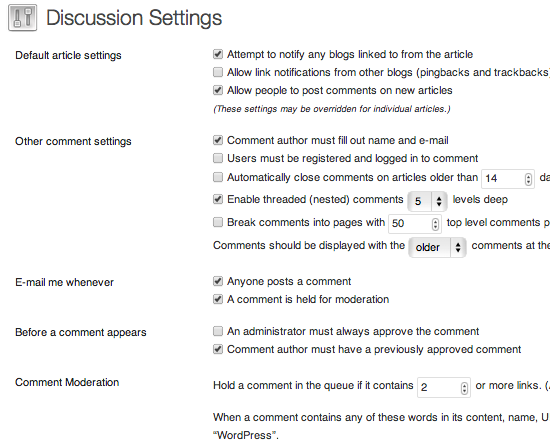 wordpress reading discussion settings